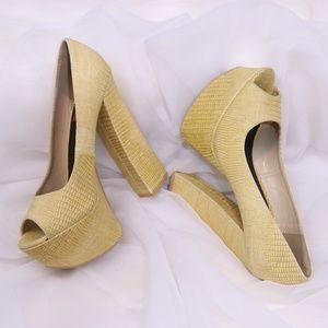 FRH Yellow Snakeskin Block Platform Heels